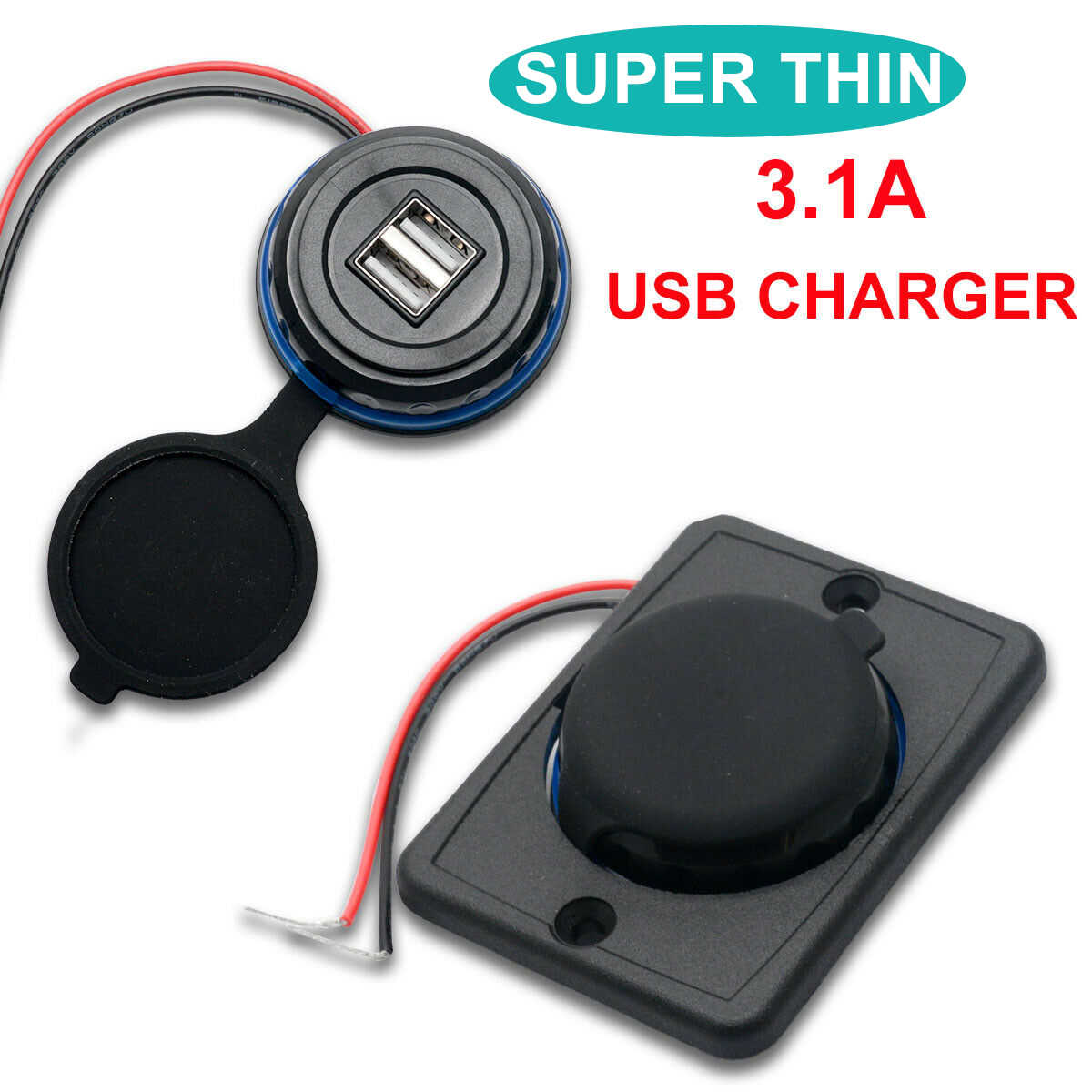 Mini 2 Port USB Charger 12V Vehicle Power Socket 3.1A Outlet Adapter Panel For Car Boat Mobile Phones Bus Motorcycle