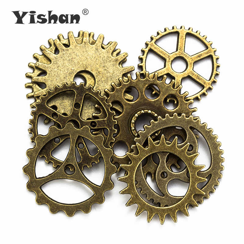 Yishan Vintage 8Pcs/bag Mixed Alloy Steampunk Charms DIY Fashion Accessories Clock & Gear Pendant Charms for Jewelry Making