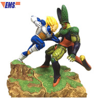 Anime Dragon Ball Super Saiyan Vegeta VS The Second Form Cell Resin Battle Scenes Statue Decoration Action Figure Model Toy X924