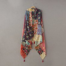 Ladies Fashion African Ethnic Patchwork Floral Tassel Viscose Shawl Scarf Winter