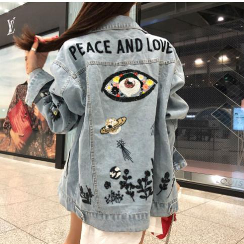 SexeMara fashion New light blue heavy work sequin embroidery long sleeved denim jacket Free shipping