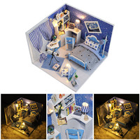 Simulate Dollhouse Miniature DIY House With Lighting Kit Creative Room Puzzle Toy With Furniture And Cover
