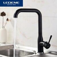 LEDEME Black Kitchen Faucet Brass Finish Deck Mounted Kitchen Faucets Torneira Handle Swivel Sink Faucets Mixers