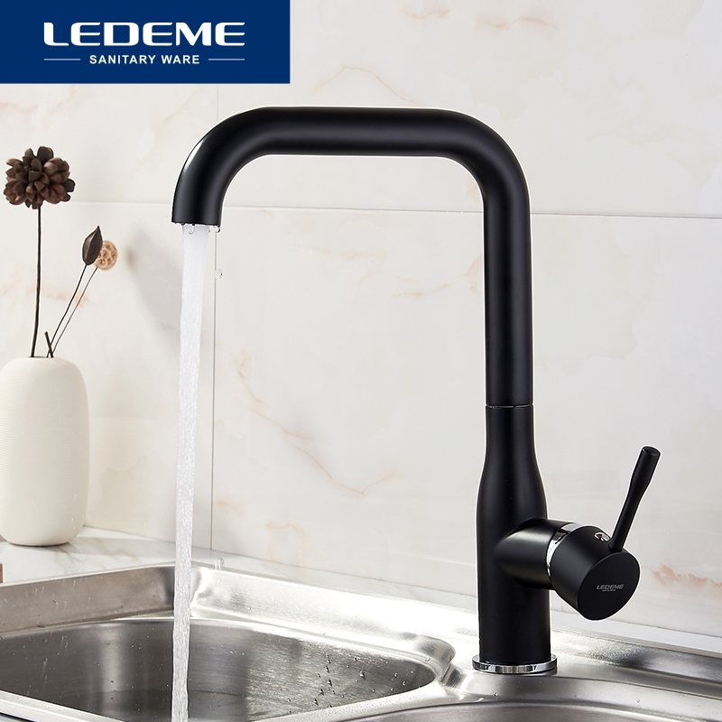 LEDEME Black Kitchen Faucet Brass Finish Deck Mounted Kitchen Faucets Torneira Handle Swivel Sink Faucets Mixers Taps L4698B
