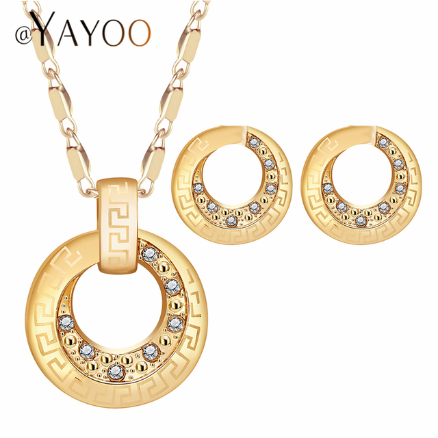 AYAYOO Indian Bridal Jewelry Sets Gold Color Nigerian Wedding Jewelry Set For Wo