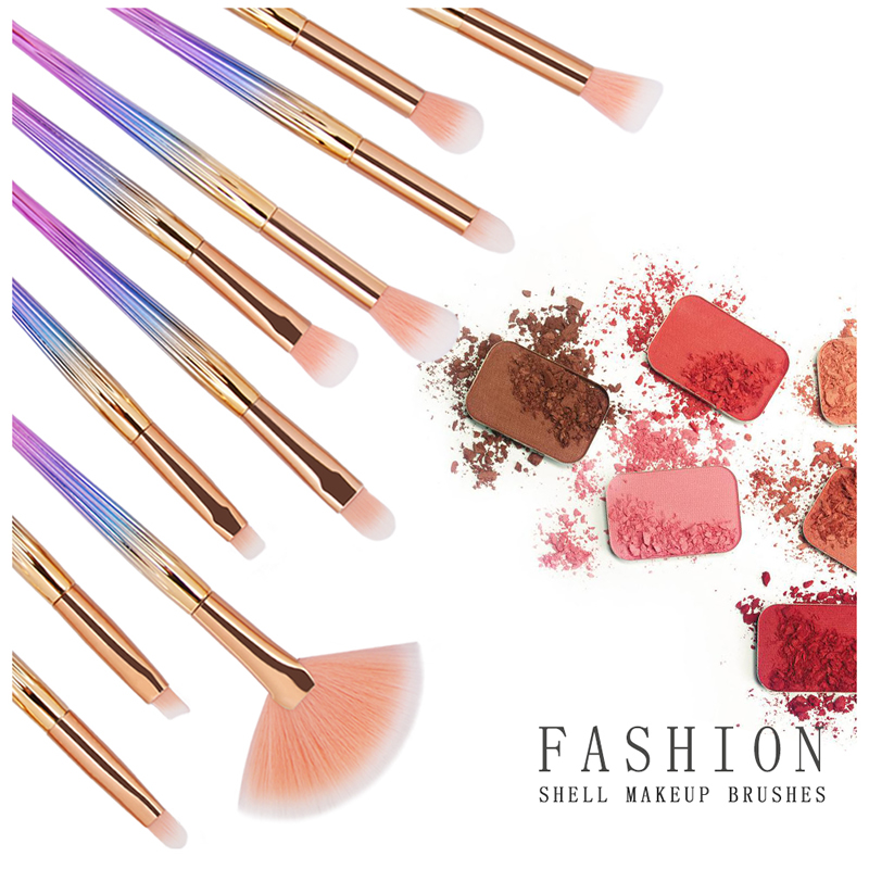 10Pcs Makeup Brushes Set Power Eye Shadow Brow Lip Concealer Fan Beauty Cosmetic Eyes Face Shell Make Up Brush Tool Kit 11.11 9