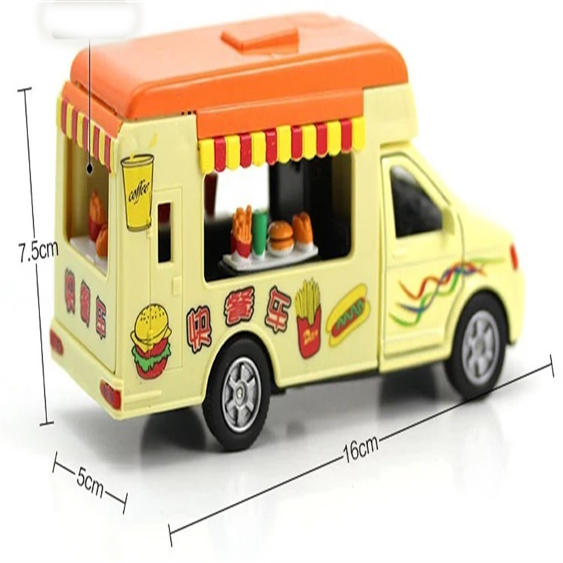 Electronic Alloy Minature Model Diecast Toy Car, Flash Sound Simulation Ice Food Cream Vehicles Pull Back Truck For Kids Gift