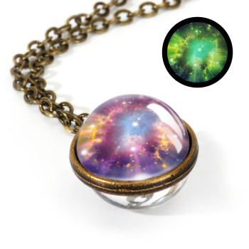 Galaxy Double Sided Pendant Necklace Jewelry Necklaces Women Jewelry Metal Color: LGS0038-Luminous