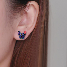 New Fashion Colorful Animal Stud Earrings French Bulldog