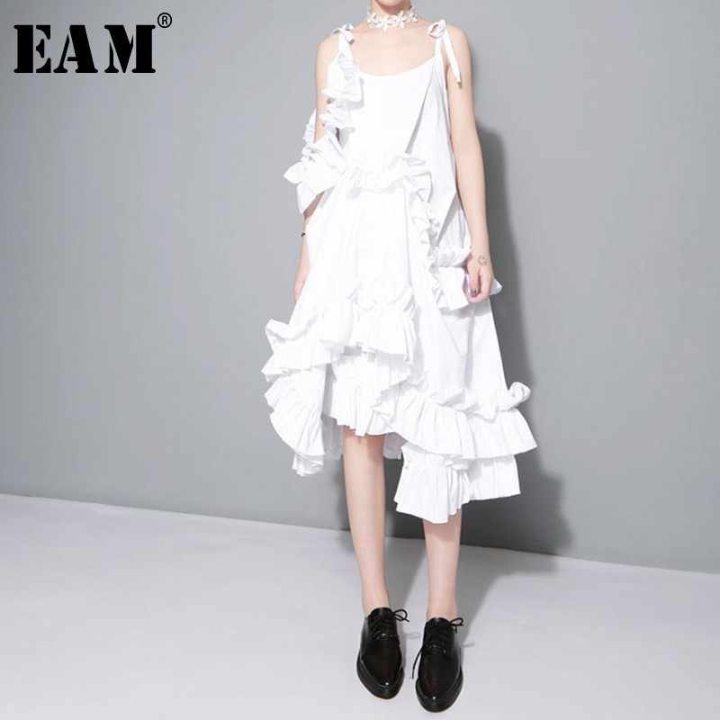 [EAM] 2017 New autumn Irregular Multilayer Ruffles Solid Color Loose Fashion Sexy Dress Women Trendy Tide J211