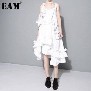 Image 1 - [EAM] 2017 Yeni sonbahar Düzensiz Katmanlı Ruffles Katı Renk Gevşek Moda Seksi Elbise Kadınlar Trendy Gelgit J211