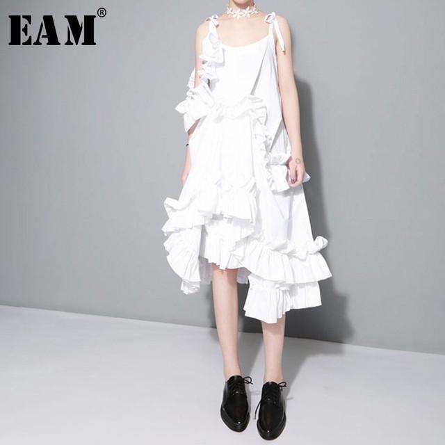 [EAM] 2017 Yeni sonbahar Düzensiz Katmanlı Ruffles Katı Renk Gevşek Moda Seksi Elbise Kadınlar Trendy Gelgit J211