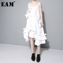 [EAM] 2020 New Spring  Irregular Multilayer Ruffles Solid Color Loose Fashion Sexy White Dress Women Trendy Tide J211