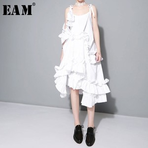 Image 1 - [EAM] 2020 New Spring  Irregular Multilayer Ruffles Solid Color Loose Fashion Sexy White Dress Women Trendy Tide J211