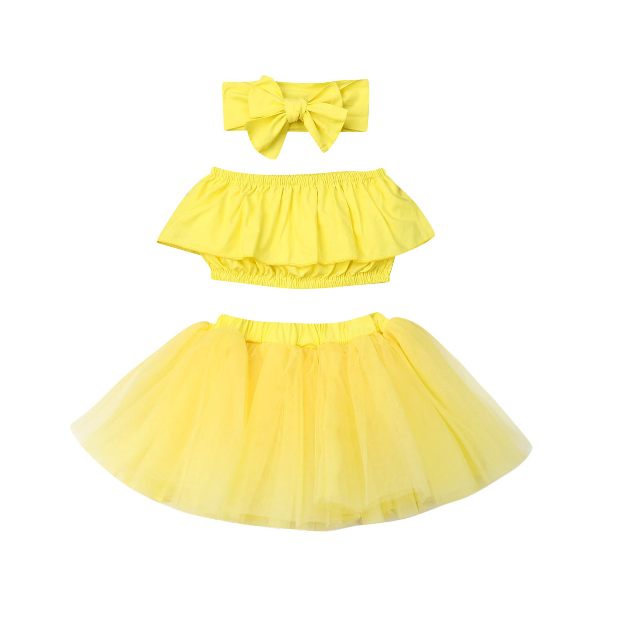 3PCS TODDLER BABY KIDS GIRLS TOPS TUTU TULLE DRESS HEADBAND SKIRT OUTFITS SET
