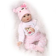 2016 Hot New  Reborn Silicone Baby Doll smile baby children's toys Magnet Pacifier 22 inch 55 cm Lovely pink baby bear doll