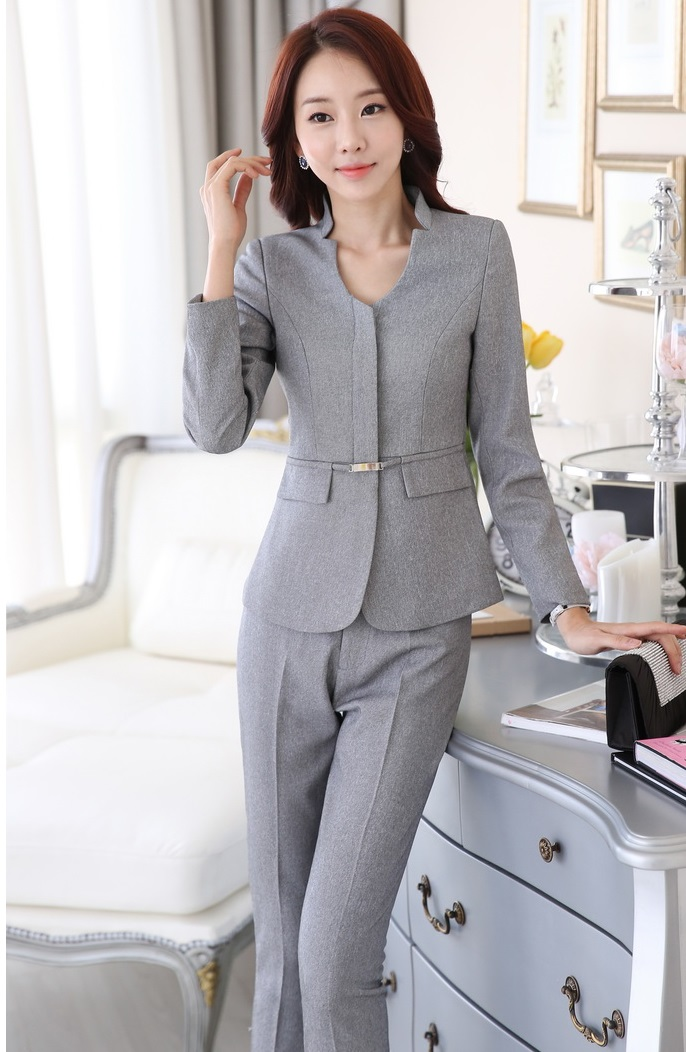 ec615b74a6e Plus Size 4XL Formal Pantsuits Novelty Gray With Jackets And Pants  Professional Business Suits For Ladies Trousers Set