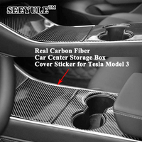3pcs/set SEEYULE Carbon Fiber Car Center Console Storage Boxes Cover Sticker Decoration Protector Accessories for Tesla Model 3