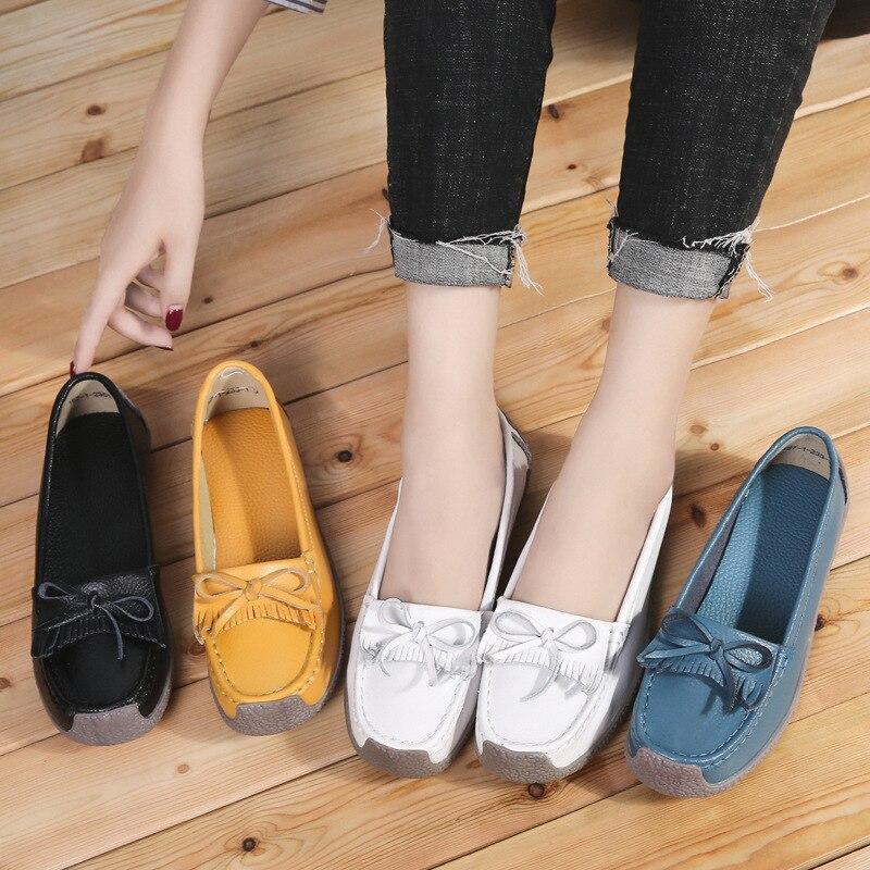 New Arrival Spring Women Slip On Genuine Leather Flats Outdoor Soft Nurse Ballerina Ladies Loafers Casual Sapato Feminino