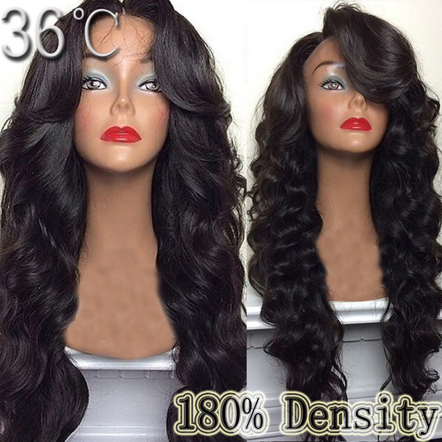e40580f2aa Human Hair Lace Front Wig 180density Heavy Density Big Body Wave Full Lace  Wig / U Part Wig For Black Woman Side Bangs FreeShip
