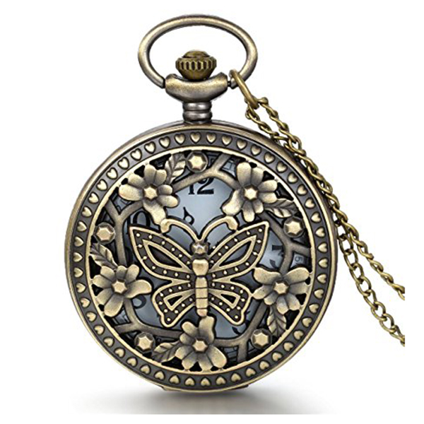 Practical Retro Design Bronze Butterfly Flower Openwork Cover Pocket Quartz Watch With 31.5 Inch Chain