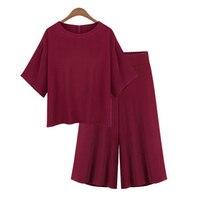 Stile europeo plus size XL-5XL donne vestiti di modo di alta qualità set camicia a maniche corte sciolto elastico in vita pantaloni larghi del piedino M98