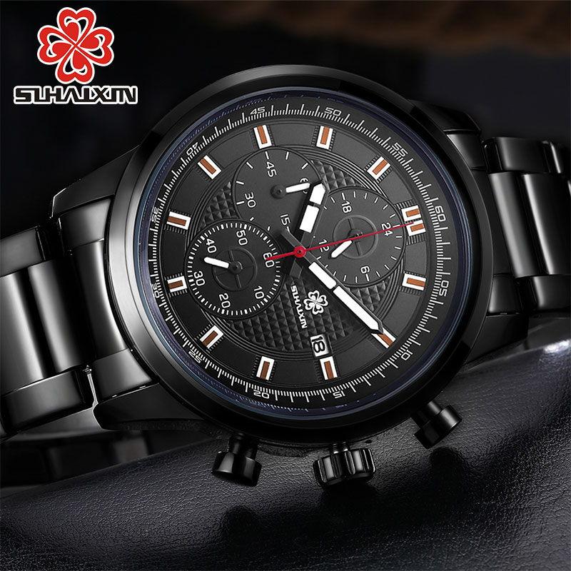 SIHAIXIN Full Stainless Steel Business Multi-Function Black Mens Watch Luxury Waterproof Calendar Gentleman Wristwatch Man Gift
