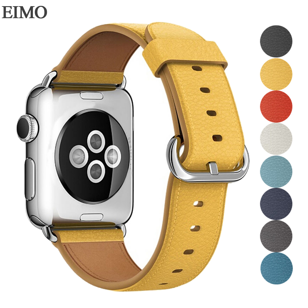 EIMO Leather Strap For Apple Watch Band 42mm 38mm Iwatch 4/3/2/1 Bracelet Yellow Stainless Steel Classic Buckle Wrist Watchband genuine leather watchband adapters for 38mm 42mm iwatch apple watch band stainless steel pin buckle strap bracelet black brown