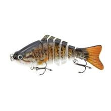Lixada 10cm/4″ 15.5g Bionic Multi Jointed Fishing Lure Yellow Perch Walleye Pike Muskie Roach SUN-FISH Lifelike Hard Bait Bass