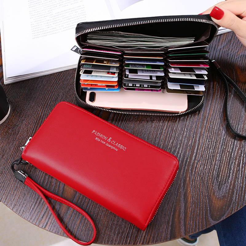 Wristband Many Departments Women Wallet 27 Slots Card Holder Cell Phone Pocket Female Wallet Clutch Carteras Long Ladies Purse