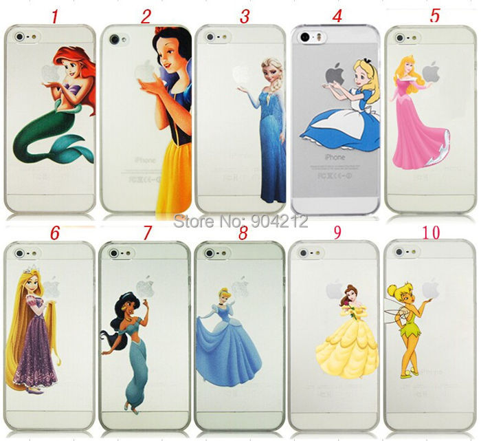 iphone 7,7 Plus,4 4s 5 5s SE 5C 6 6s Plus Princess Snow White Cinderella Little Mermaid Ariel Holding Logo Plastic Hard Case - Shenzhen Pai Xin Electronic Co., Ltd. store