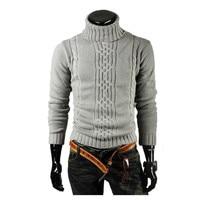 Sweater Pullover Men 2017 Male Brand Casual Slim Sweaters Men Solid High Lapel Jacquard Hedging Men