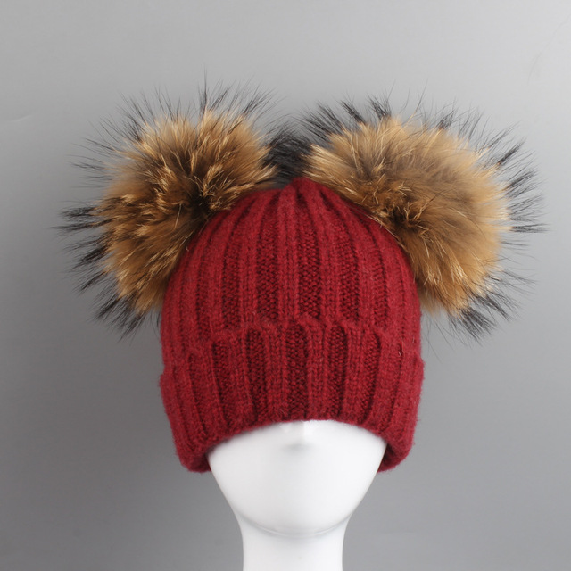 2017 New Baby Winter Hat Knit Mohair Baby Hats Two Pom Poms Girl Cap For  Children Cotton Warm Cap Cute Warm Kid Beanie Unisex b7ba7af61c6