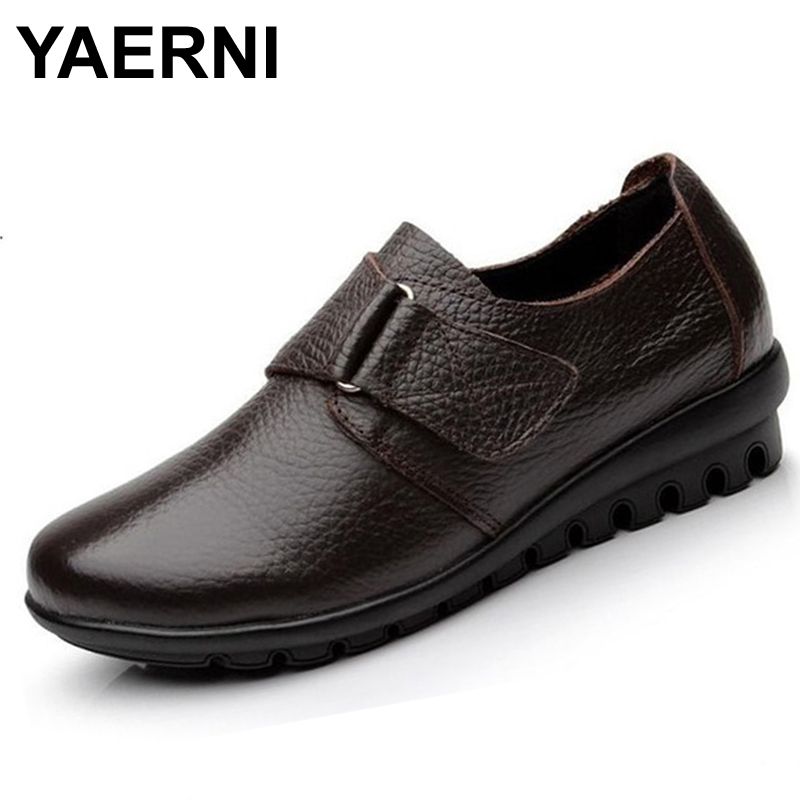 YAERNI flats Shoes Woman Genuine Leather Women Shoes Flats 3 Colors Buckle Slip On Women's Flat Shoes Moccasins Plus Size