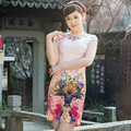 Summer Dress 2016 Women Satin Short Cheongsam Dress Traditional Chinese Qipao Vestido Oriental Mini Party Dresses Size S-Xxl