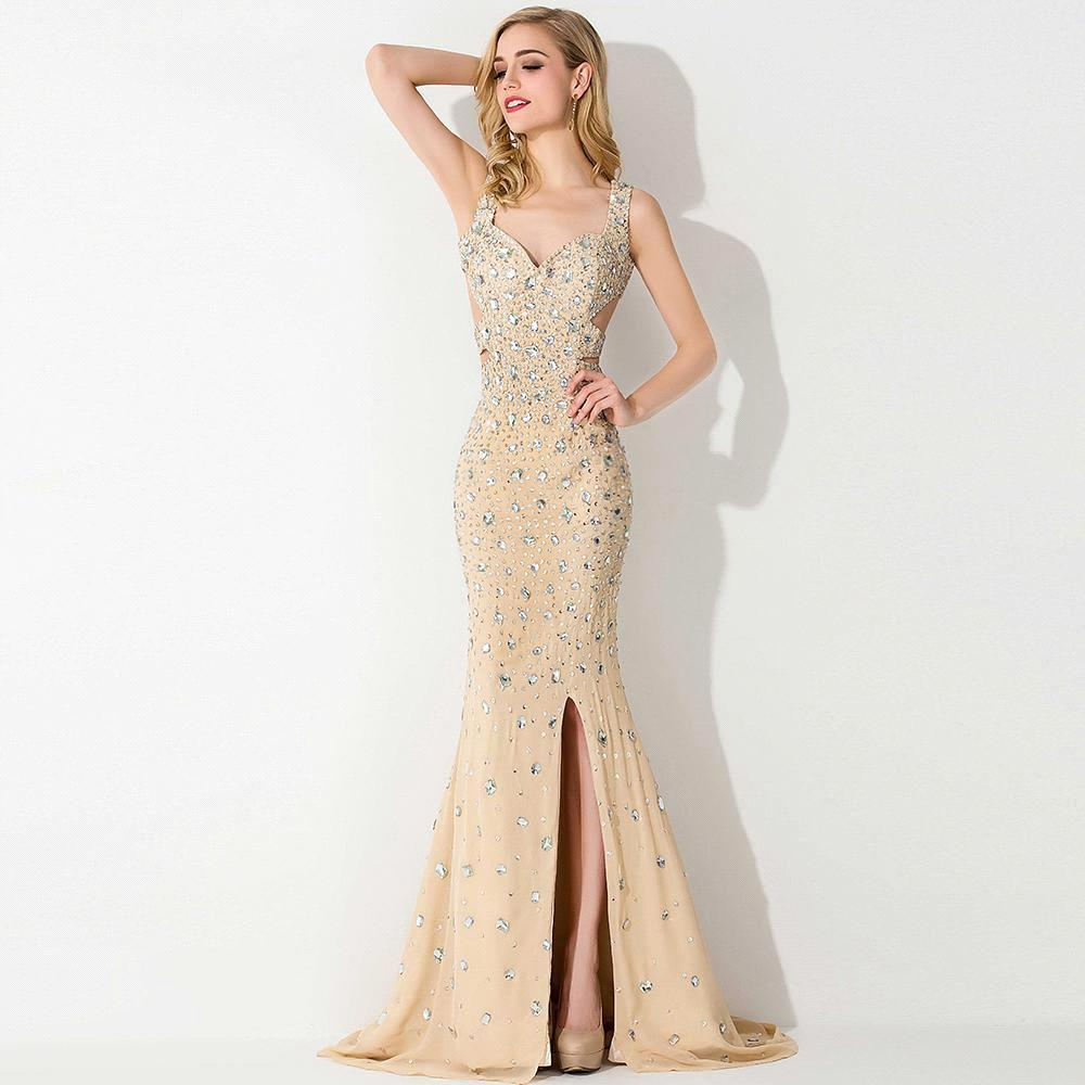 Luxury Sparkly Crystal Beaded Champagne Long Evening Dress ...
