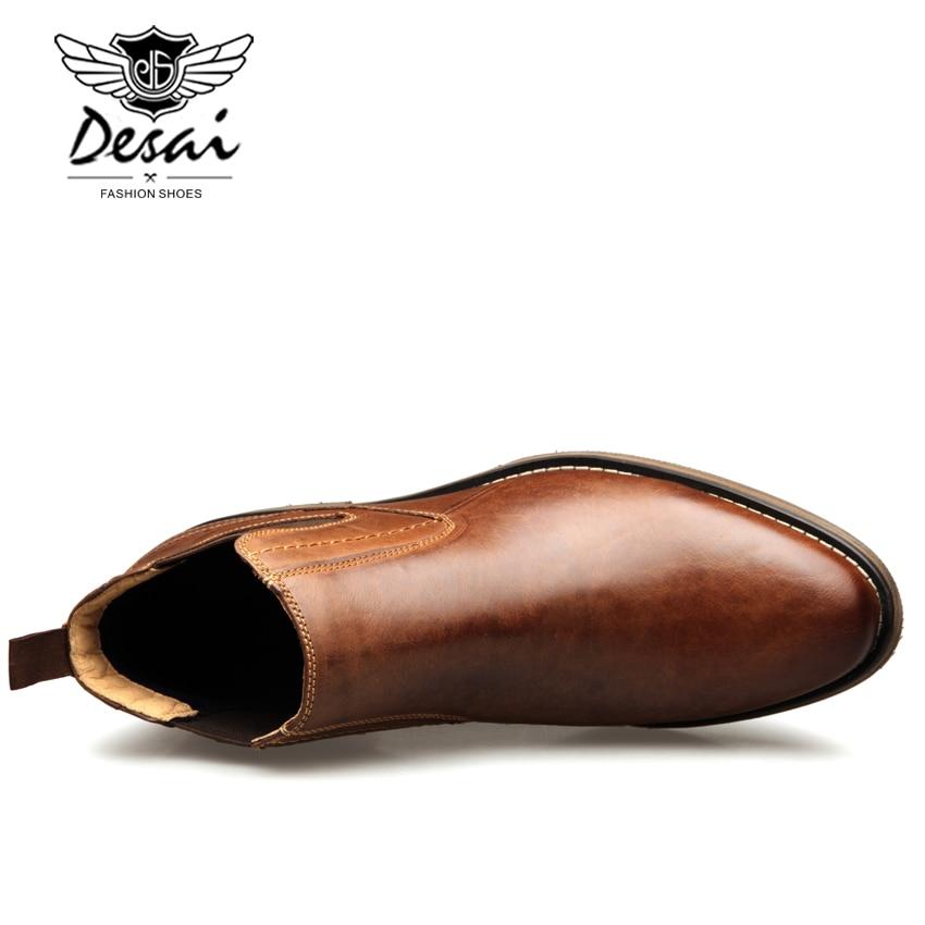DESAI oryginalne skórzane buty męskie w stylu Vintage High Cut sznurowane buty męskie moda na co dzień akcentem wysokiej buty EUR rozmiar 8 12 w Podstawowe buty od Buty na  Grupa 2