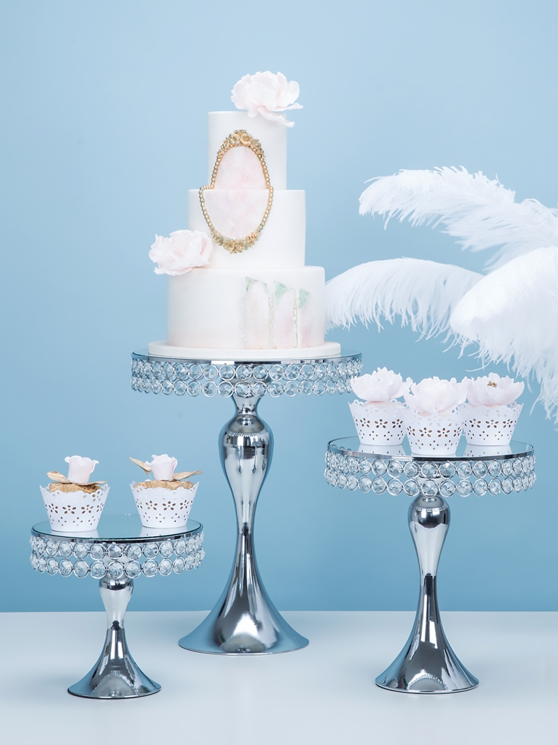 5pcs Silver Cake Stand Wedding Metal Crystal Cake Decor Table