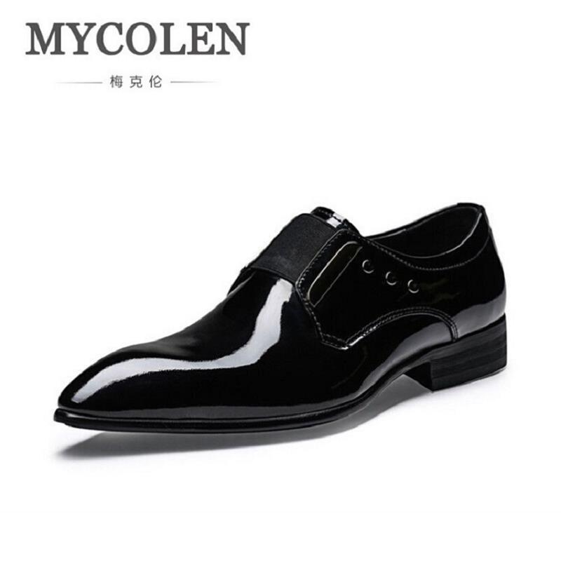 MYCOLEN Mens Leather Shoes Genuine Leather Wedding Party Shoes Men Patent Leather Pointed Toe Dress Shoes Sapatos MasculinoMYCOLEN Mens Leather Shoes Genuine Leather Wedding Party Shoes Men Patent Leather Pointed Toe Dress Shoes Sapatos Masculino