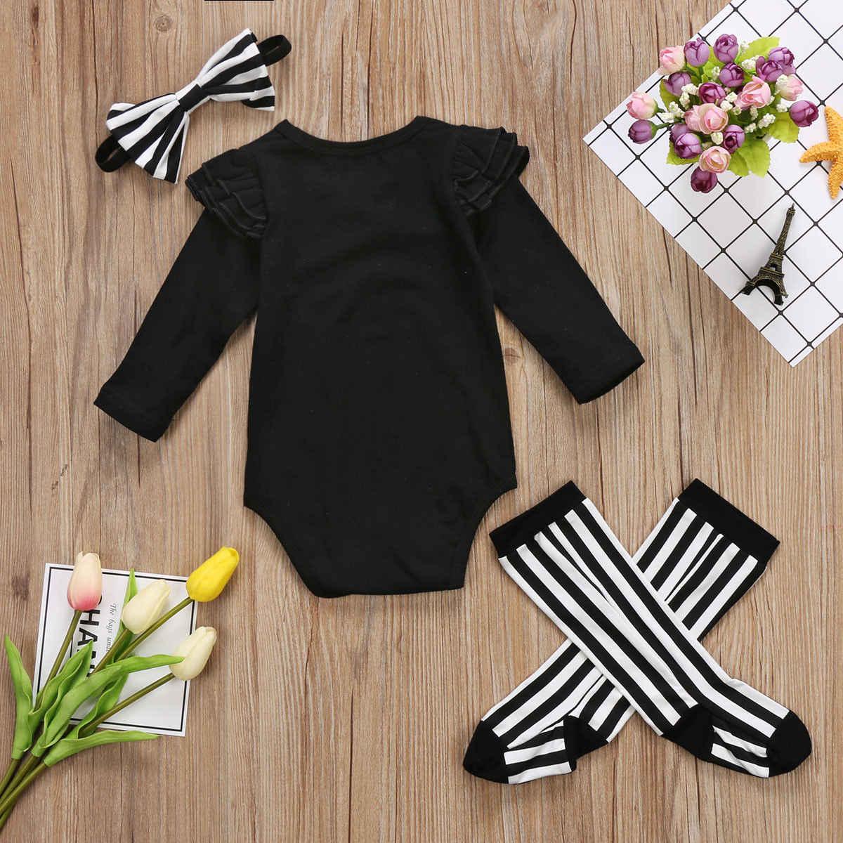 74bc68bf7413b ... Newborn Baby Girls Black Long Sleeve Casual Bodysuit Leggings Socks  Headband Outfits Set Lucky Child Clothes ...