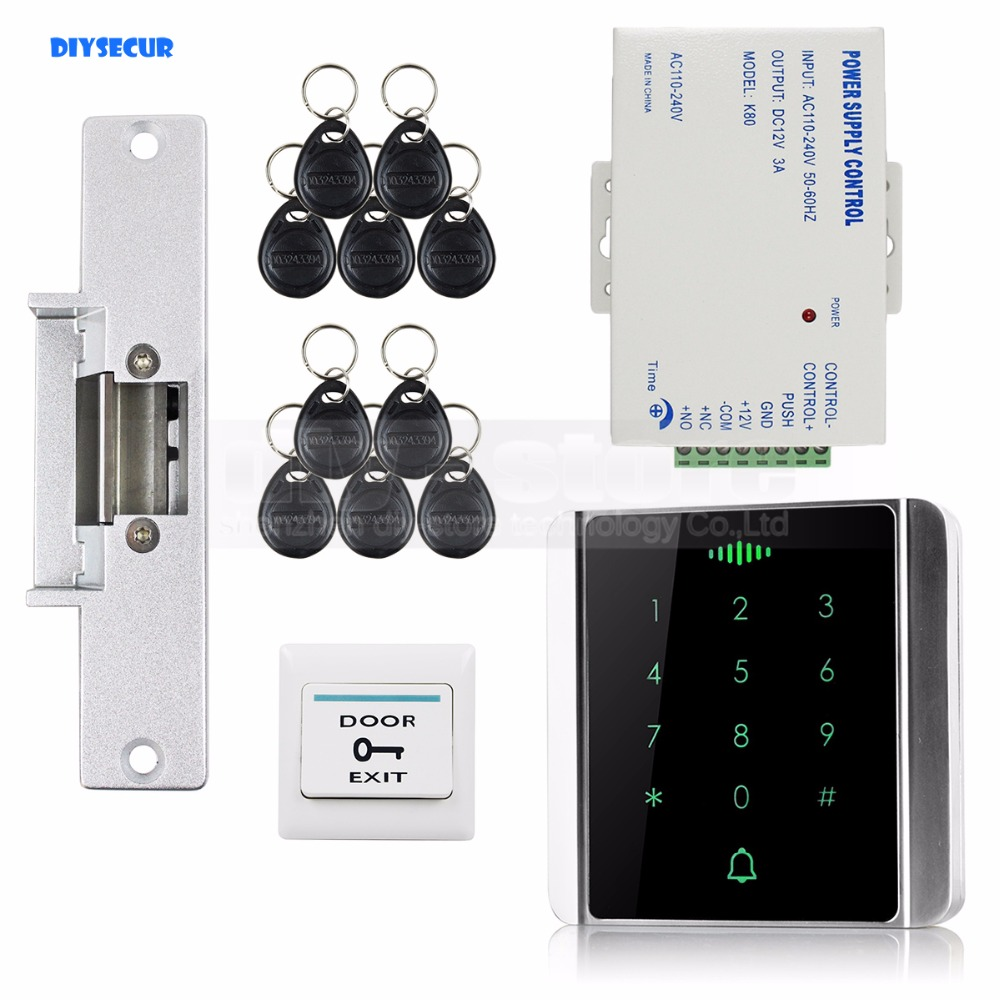 DIYSECUR 125KHz RFID Reader Password Keypad + Electric Strike Lock + Access Control System Security Kit