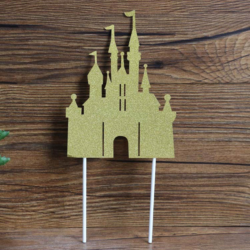 Image 5 - Cake Decoration Figure Snow white Princess Glitter Sliver Gold Happy Birthday CastleCake toppers for kids birthday Party Decor-in Cake Decorating Supplies from Home & Garden