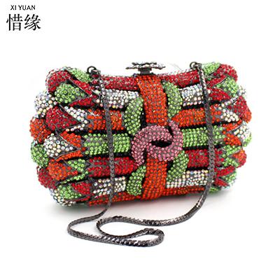 XIYUAN BRAND Upscale Lady full diamond Floral gold/silver Bag Fashion Women's Handbag Pearl Diamond Crossbody Messenger Bags