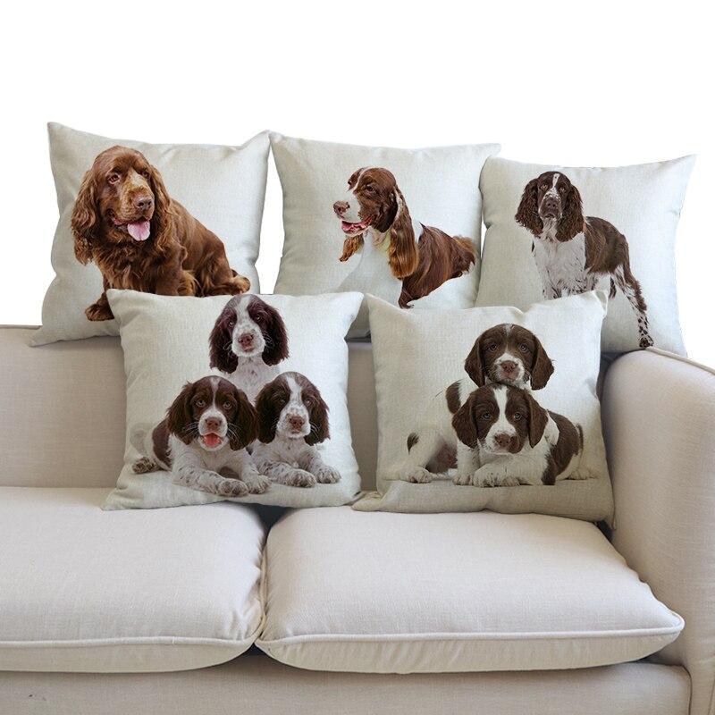 Decorative Cushion English Springer Spaniel Pillows Animal dog cojines decoracion 45x45 Dogs pattern throw Car Pillow Cushions
