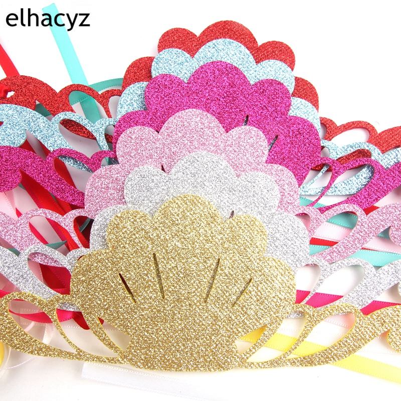 1PC Girls Glitter Mermaid Headband For Kids Summer Shiny Shell Satin Hairband Birthday Party Princess Tiaras Hair Accessories