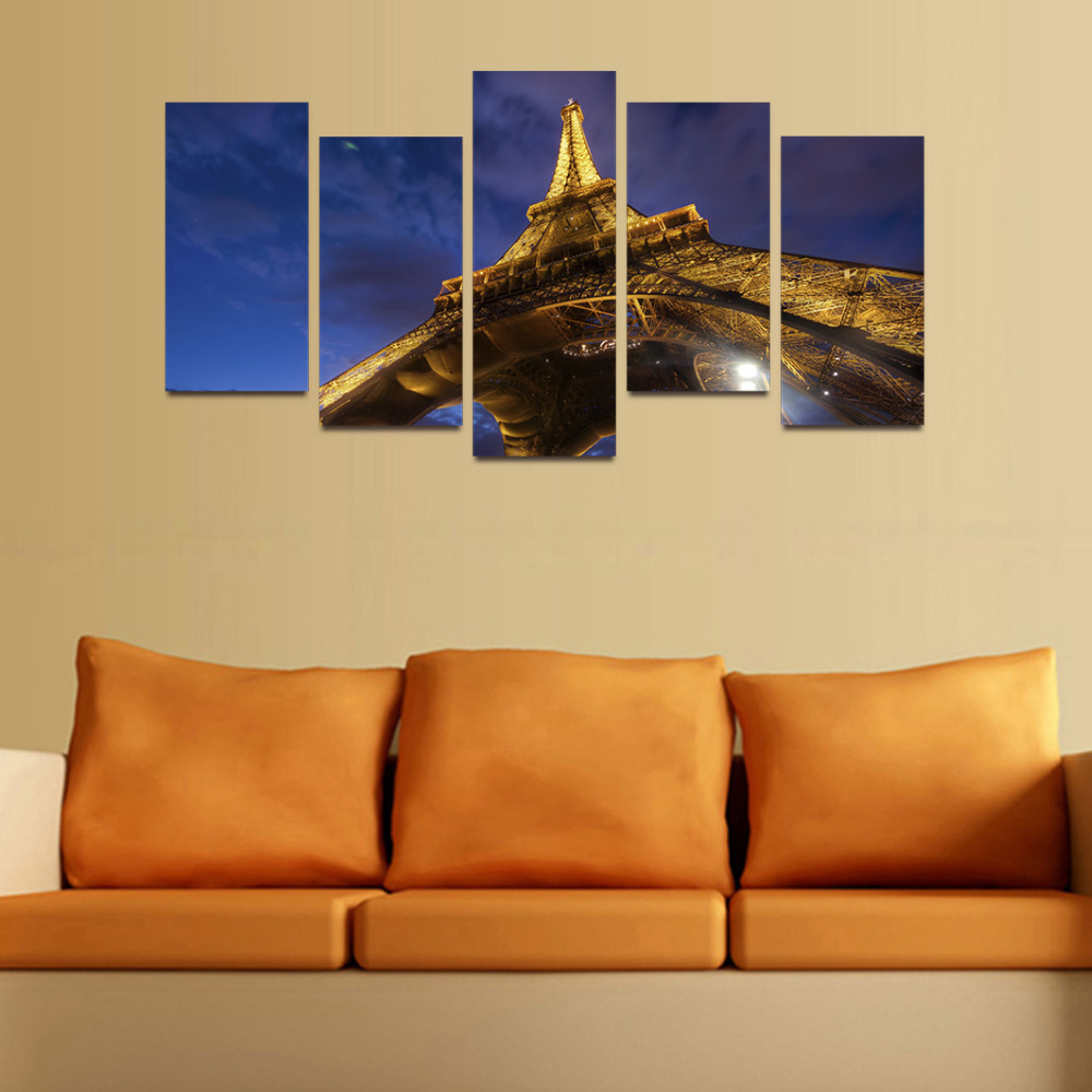 Original Oil Ink Canvas Print Eiffel Tower Picture Painting On ...