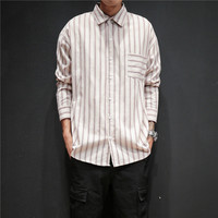 Men New Stripe Shirts Male Fashion Casual High Street Hip Hop Loose Long Sleeve Dress Shirts Asian Size M 5XL