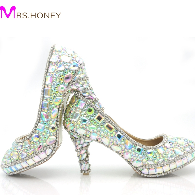 2016 Sparkling AB Color Crystal Wedding Shoes 3 Inch High Heel Graduation Prom Shoes Homecoming Party Pumps Platform Round Toe