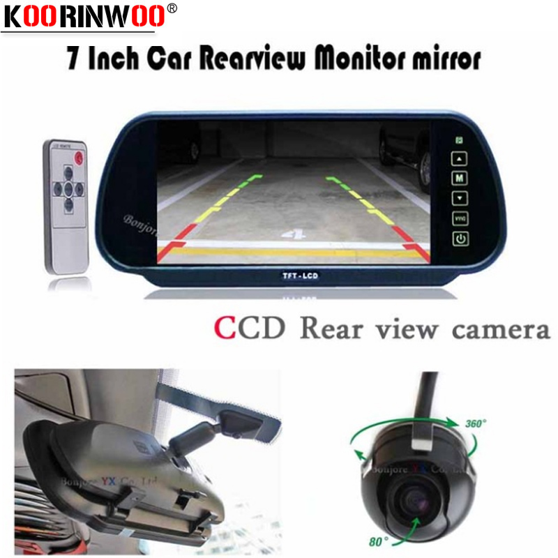 Koorinwoo HD 7 Car Monitor Mirror Display 360 Degree Car Rearview Camera Reverse Backup Parking Assist