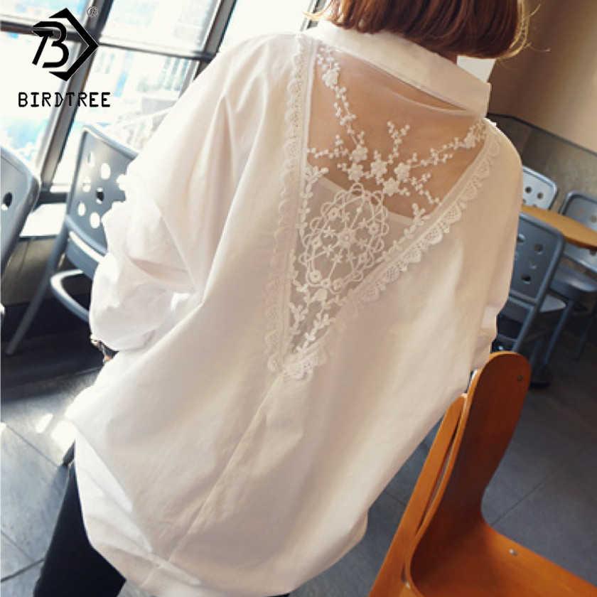 Женские белые топы, женские блузки, мода 2018, кружевные сетчатые Лоскутные весенние Рубашки с v-образным вырезом, женская одежда размера плюс S-5XL, T82809A